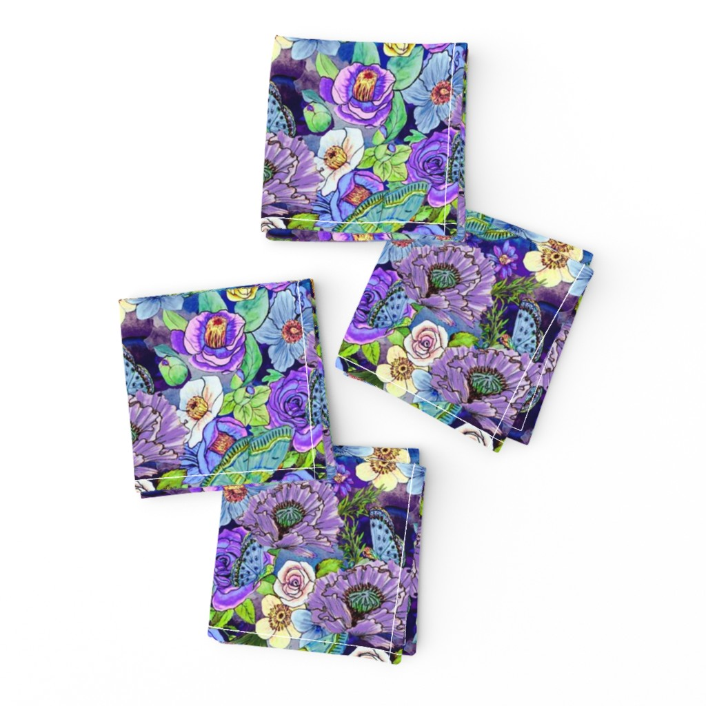 Frizzle Cocktail Napkins featuring  Smoky blue Blooms  by magentarosedesigns