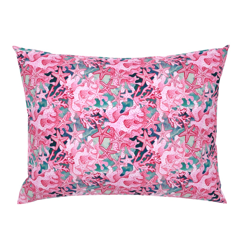 Campine Pillow Sham featuring pink starfish  watercolor, pink and slate blue by magentarosedesigns