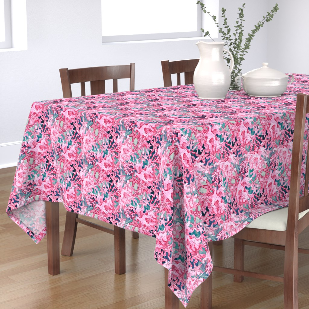 Bantam Rectangular Tablecloth featuring pink starfish  watercolor, pink and slate blue by magentarosedesigns