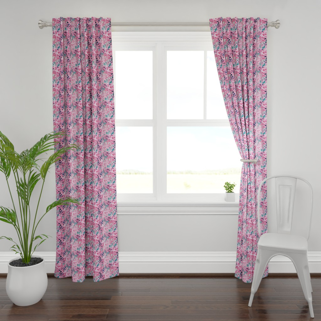 Plymouth Curtain Panel featuring pink starfish  watercolor, pink and slate blue by magentarosedesigns