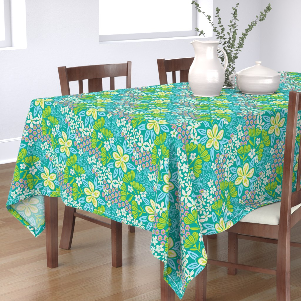 Bantam Rectangular Tablecloth featuring Fresh Garden Floral Botanical White Pink Blue Green by unblinkstudio-by-jackietahara