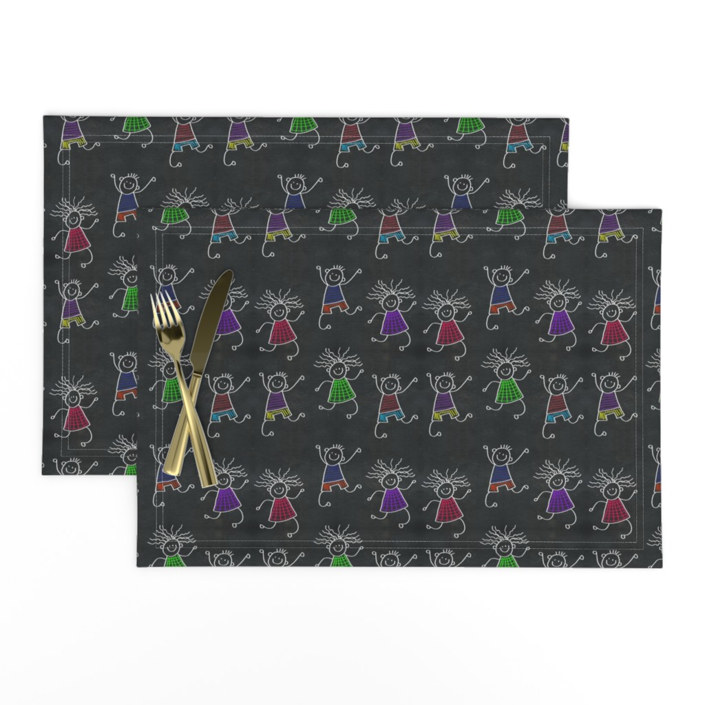 Lamona Cloth Placemats featuring Chalkboard Children on Blackboard by karwilbedesigns
