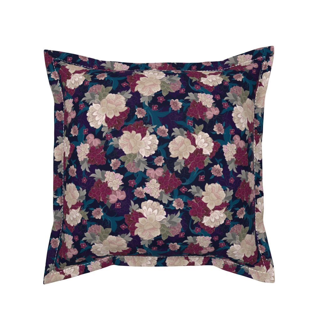 Serama Throw Pillow featuring Moody Floral Peonies by jac_slade