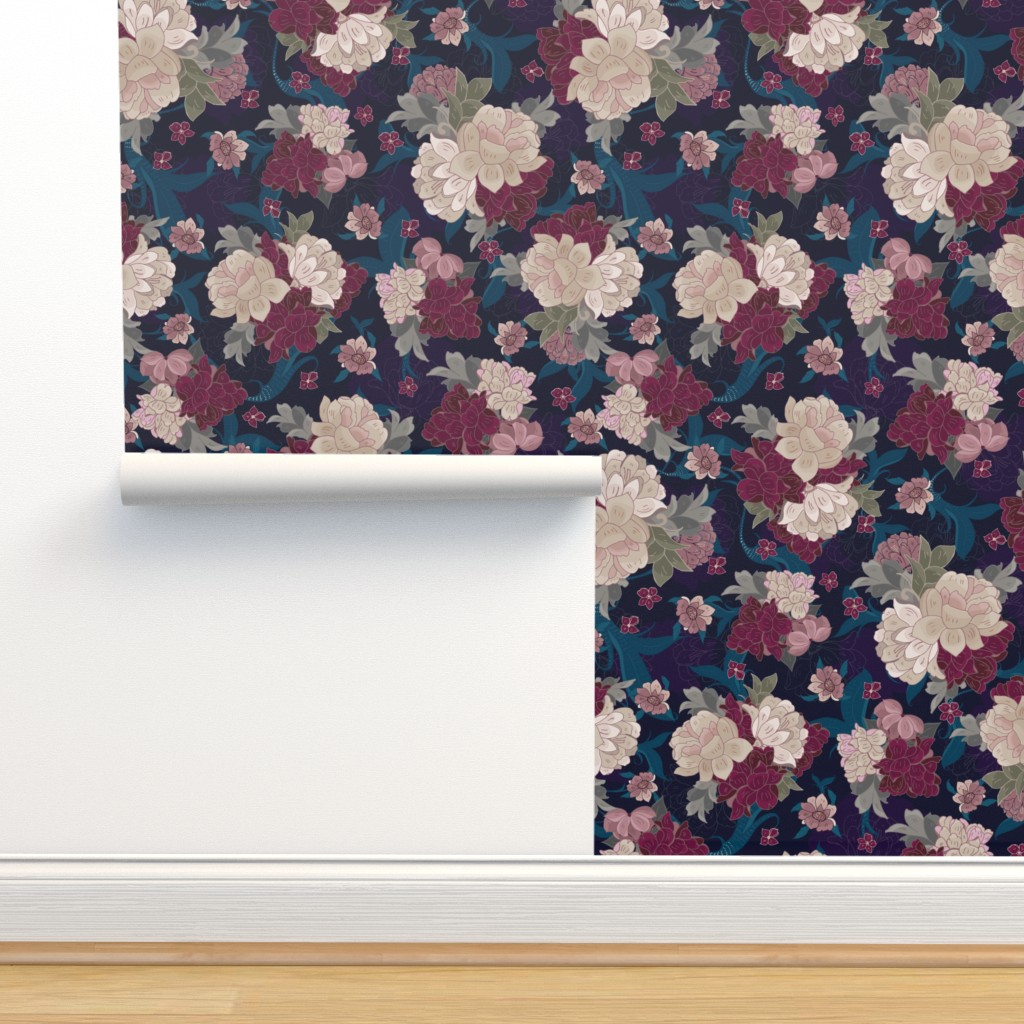 Isobar Durable Wallpaper featuring Moody Floral Peonies by jac_slade