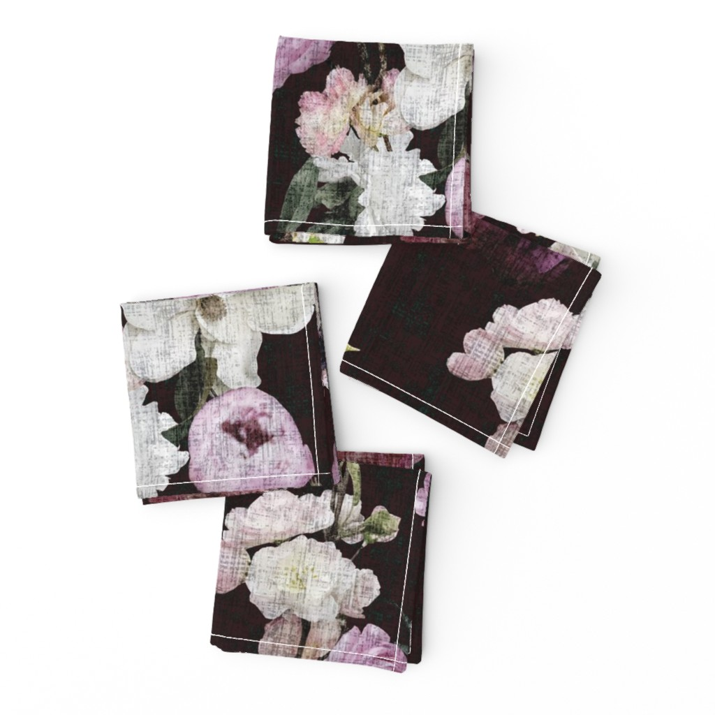 Frizzle Cocktail Napkins featuring Moody Floral #3 - Deep Burgundy by scarlette_soleil