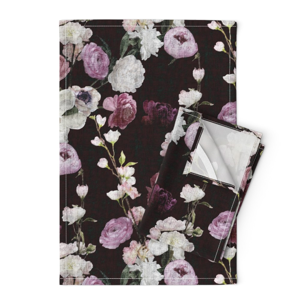 Orpington Tea Towels featuring Moody Floral #3 - Deep Burgundy by scarlette_soleil