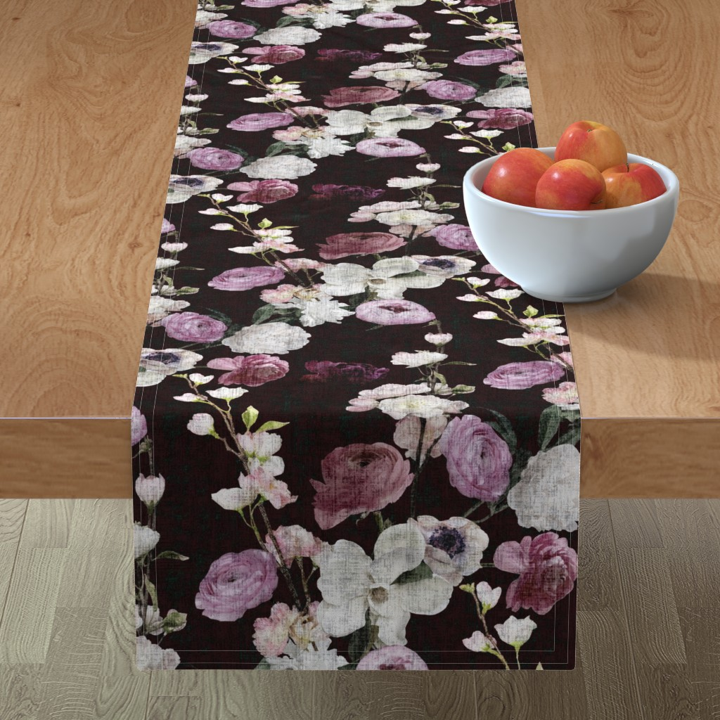 Minorca Table Runner featuring Moody Floral #3 - Deep Burgundy by scarlette_soleil
