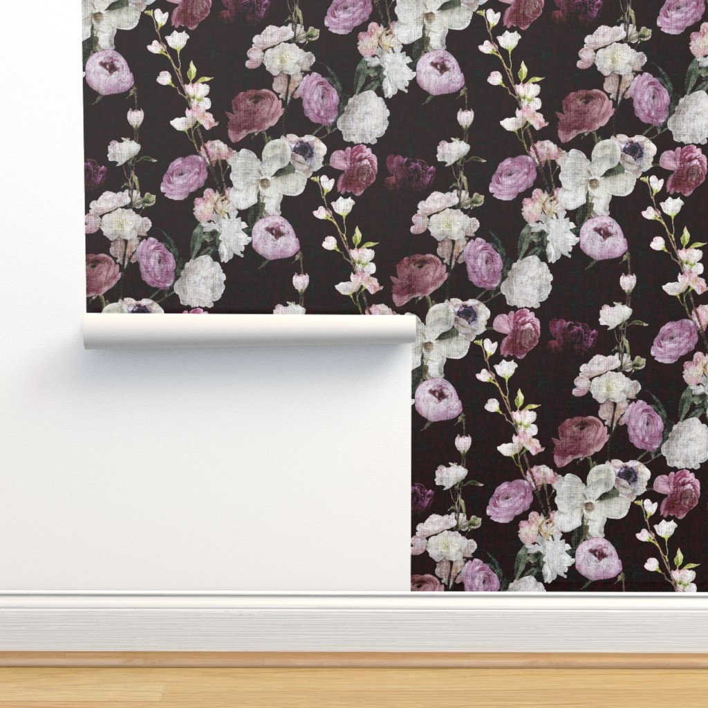 Isobar Durable Wallpaper featuring Moody Floral #3 - Deep Burgundy by scarlette_soleil