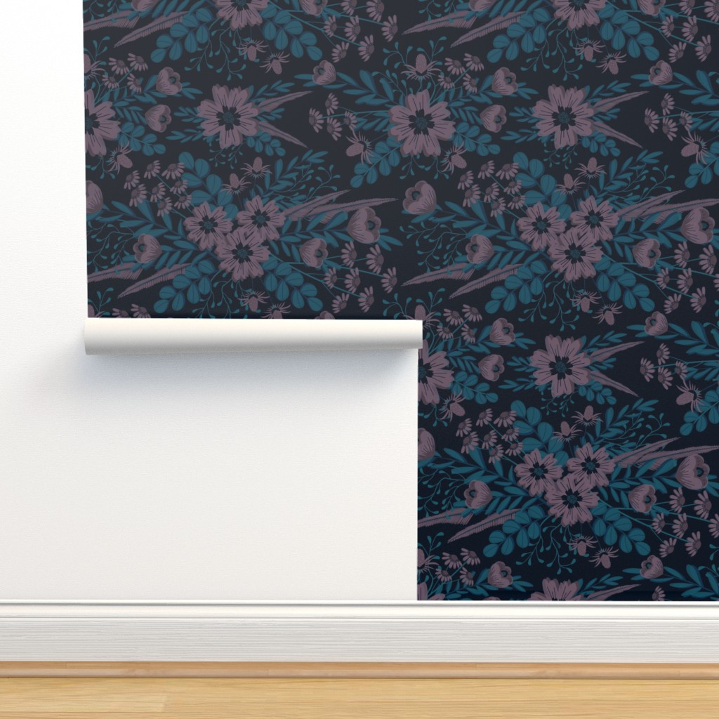 Isobar Durable Wallpaper featuring Pouty Plum Florals by nanshizzle