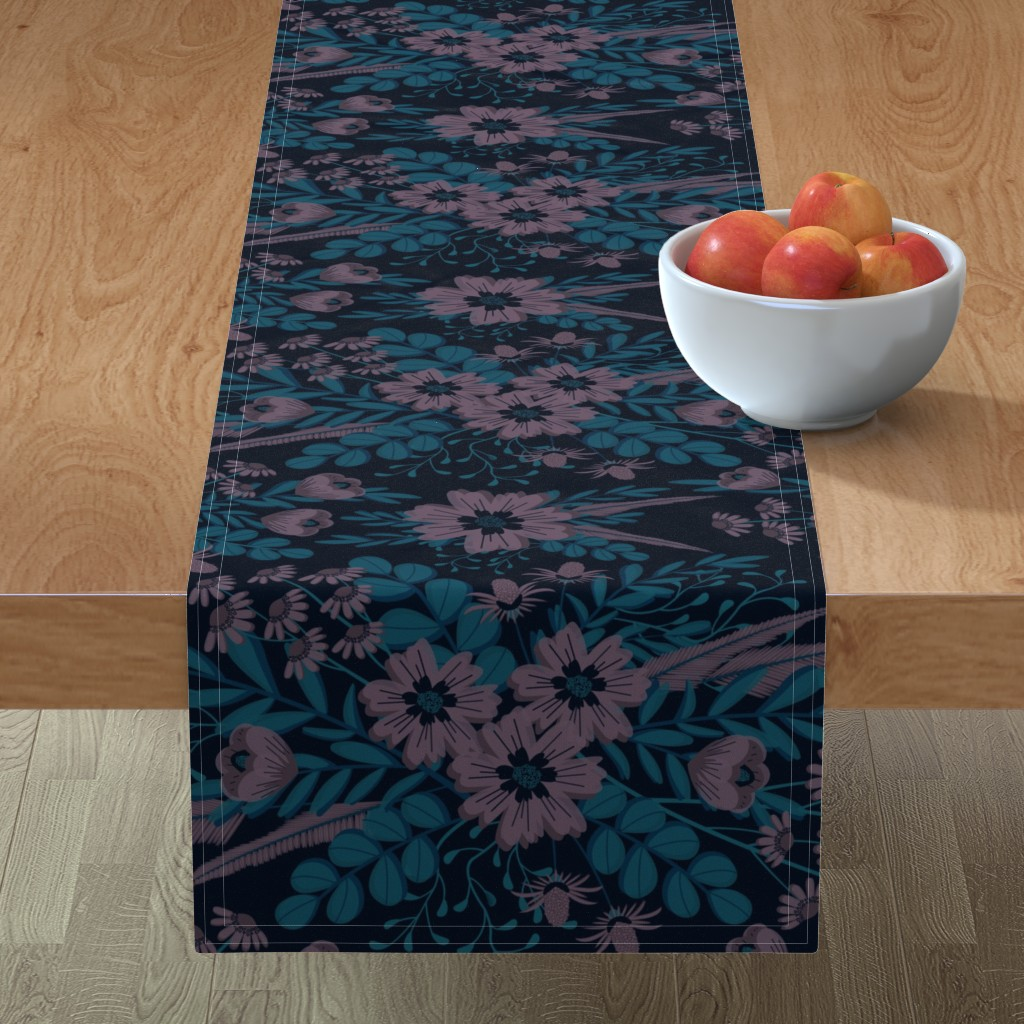 Minorca Table Runner featuring Pouty Plum Florals by nanshizzle