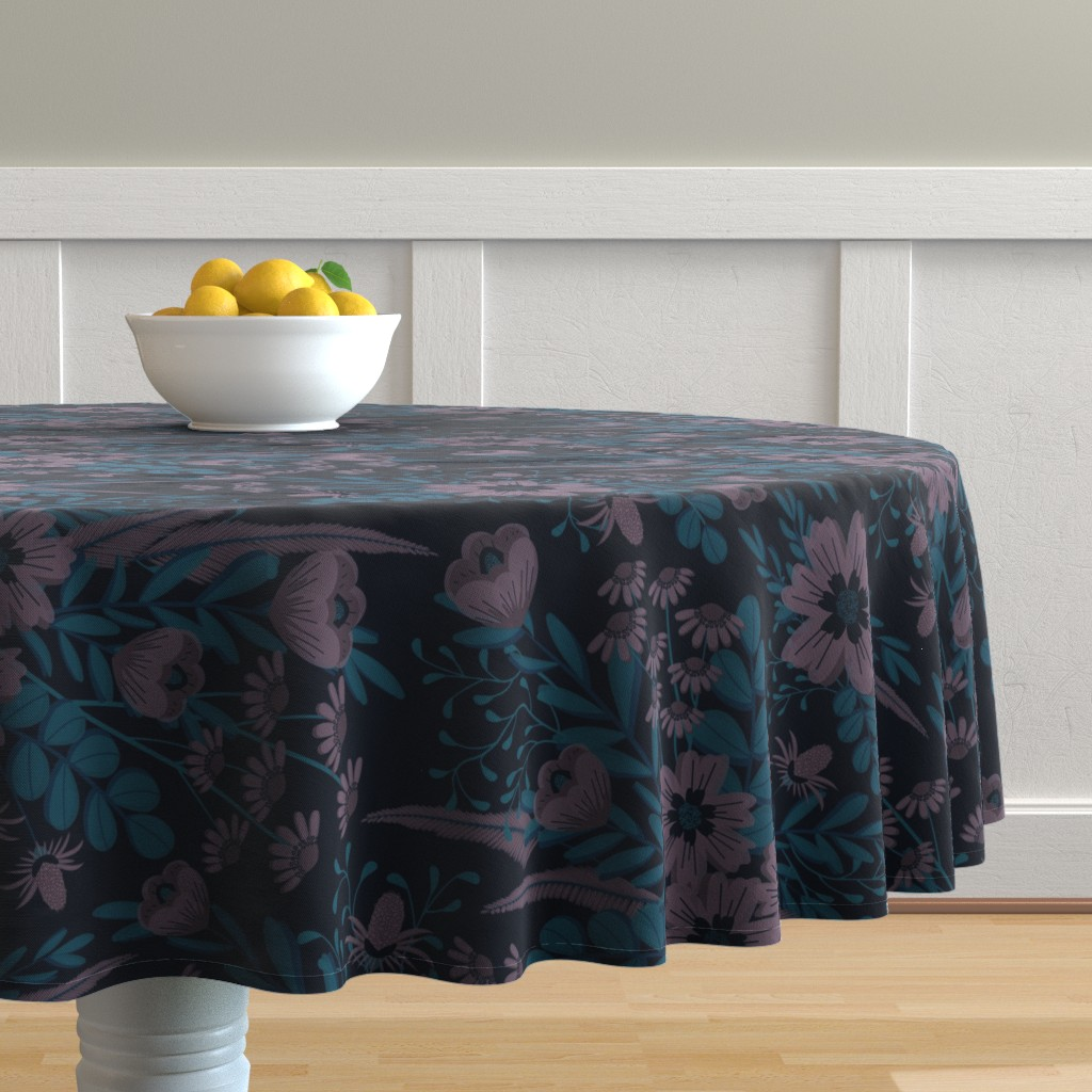 Malay Round Tablecloth featuring Pouty Plum Florals by nanshizzle