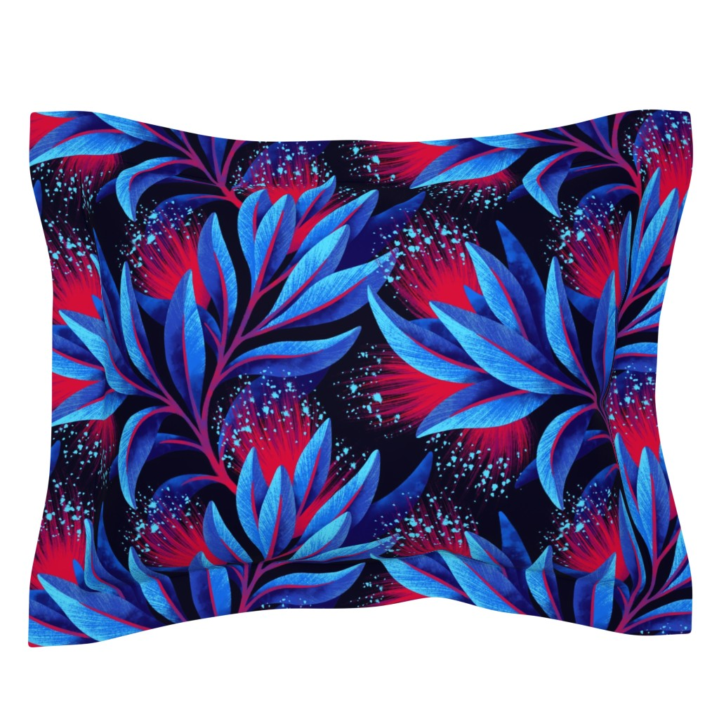 Sebright Pillow Sham featuring Pohutukawa - Blue / Red - AAM19 by andreaalice