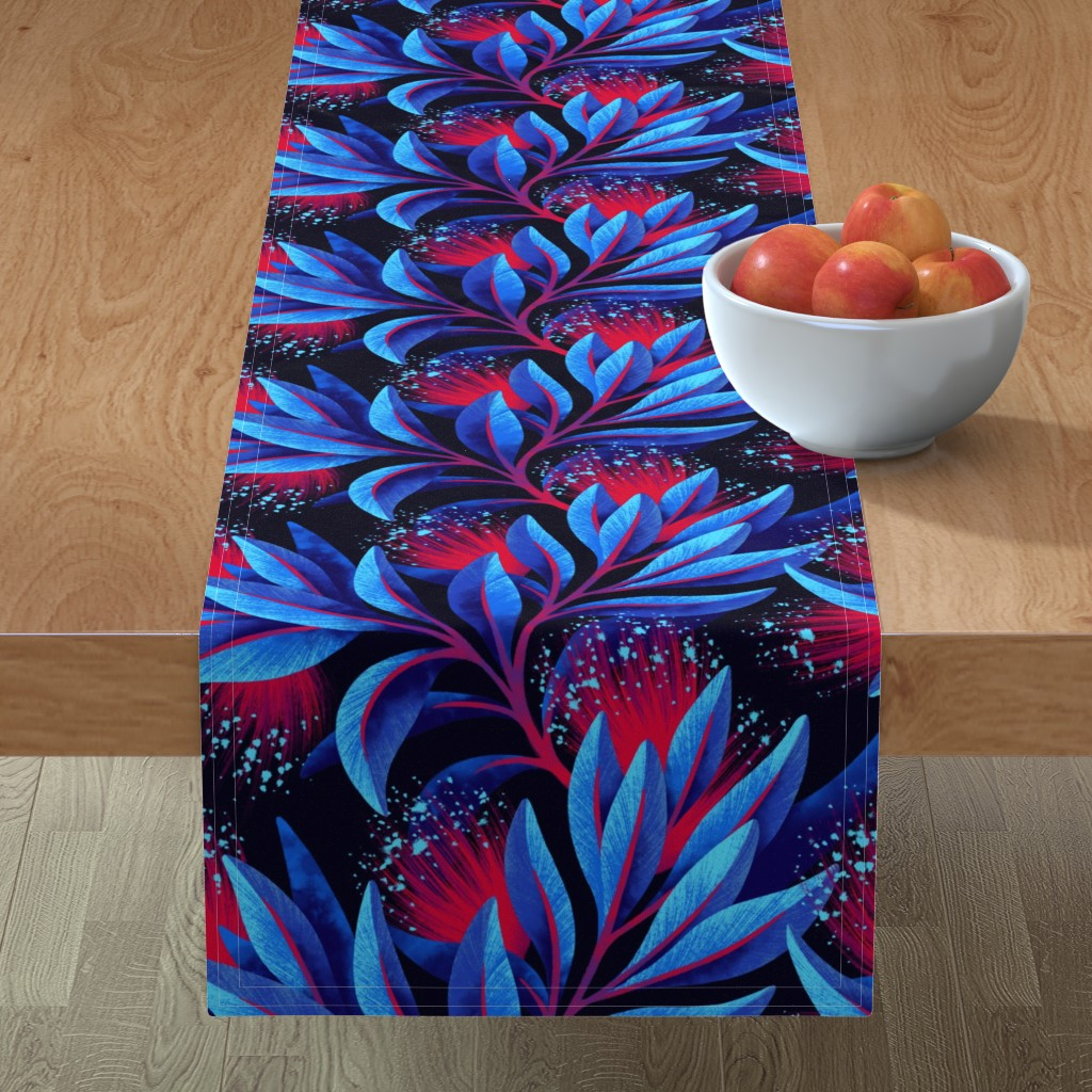 Minorca Table Runner featuring Pohutukawa - Blue / Red - AAM19 by andreaalice