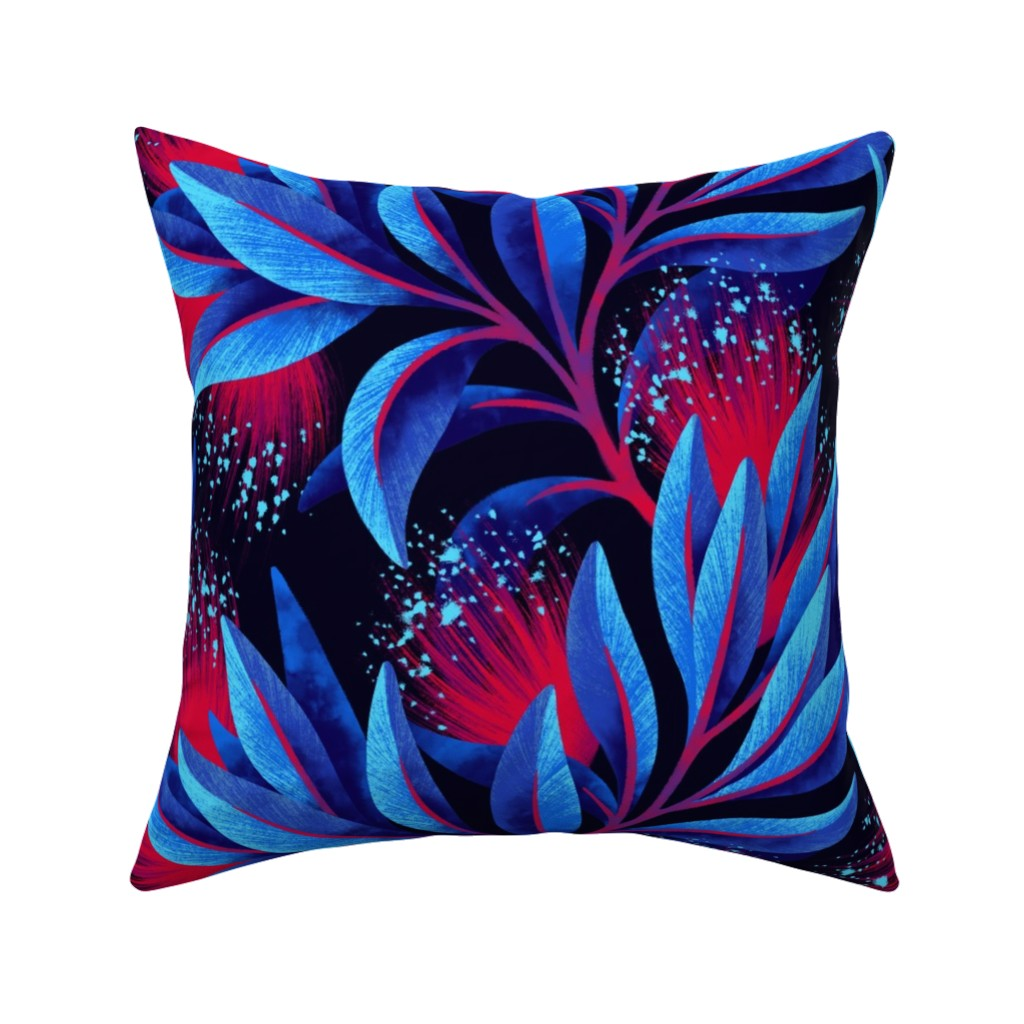 Catalan Throw Pillow featuring Pohutukawa - Blue / Red - AAM19 by andreaalice