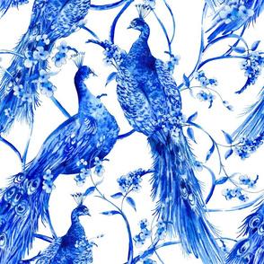 Vintage watercolor blue pair of peacocks