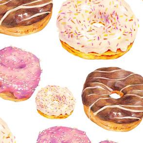 Hand drawn seamless pattern glazed donuts dessert