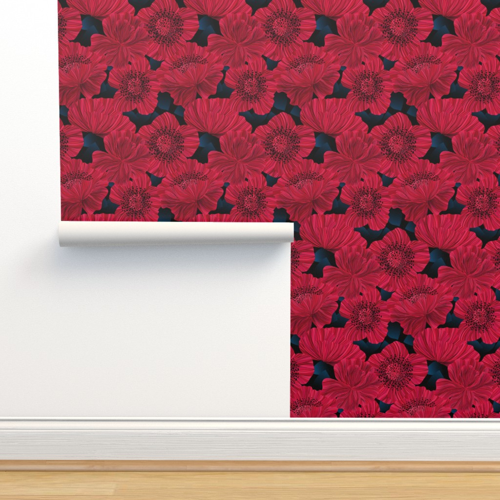 Isobar Durable Wallpaper featuring Poppies at Night - Moody by vo_aka_virginiao