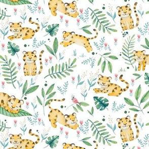 Floral Tigers in Jungle