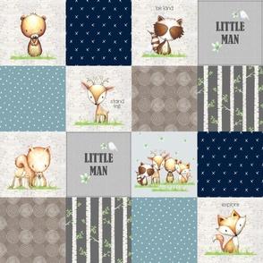 Little Man Patchwork Quilt Panel – Boys Woodland Animals Birch Tree Deer Bear Fox Raccoon Squirrel, Blue Gray Brown, Design D