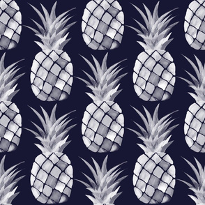 Navy and White Large print Pineapples