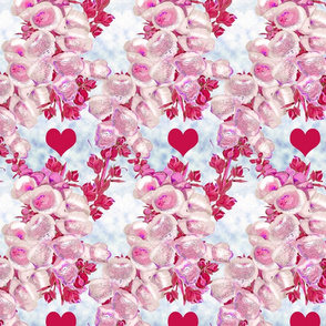 Foxglove pink with red hearts