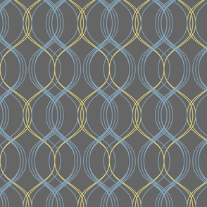 minimal maximal coordinate - blue and lemon on dark grey