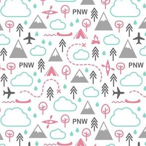 Northwest Repeat - Pink Mint Gray
