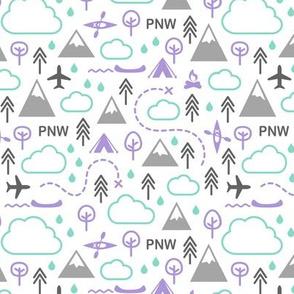 Northwest Repeat - Purple Mint Gray