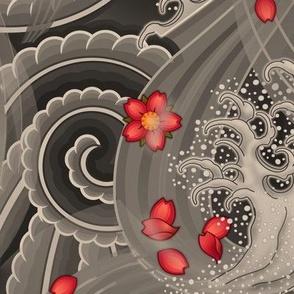 ★ SAKURA ★ Red Cherry Blossom Japanese Tattoo / Vintage Sepia - Jumbo Scale / Collection : Irezumi - Japanese Tattoo Prints