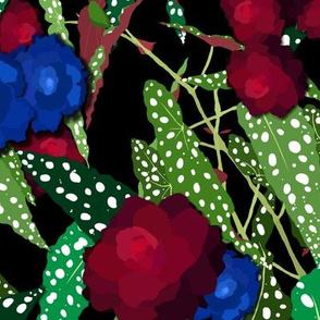 Moody Begonia Floral in Midnight Black