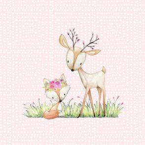 Deer & Fox Pillow Front (shell pink pattern) - Fat Quarter size