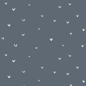 Blue grey tiny love hearts on dark grey valentines