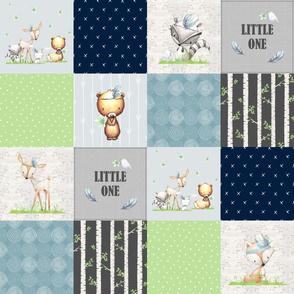 Tribal Woodland Animals Quilt Panel – Little One Patchwork Birch Tree Deer Bear Fox Raccoon, Blue Gray Green, Design B