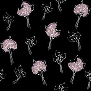 Calla Lilies on Black