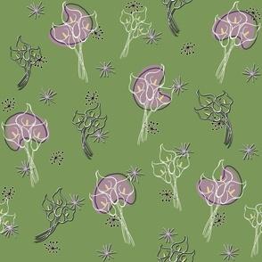 Calla Lilies on Green