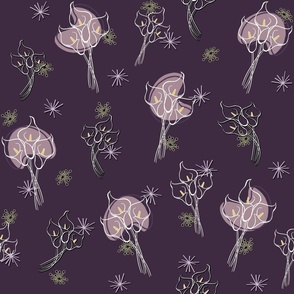 Calla Lilies on Purple