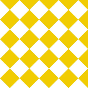 large yellow and white check on bias