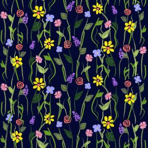 Wildflower Carpet - Navy