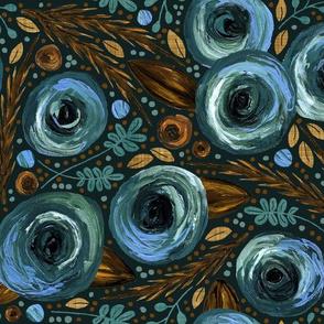 Painted Peonies Moody Floral - Blue