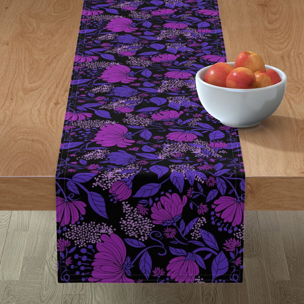 Minorca Table Runner featuring Midnight Nouveau Floral by maliuana