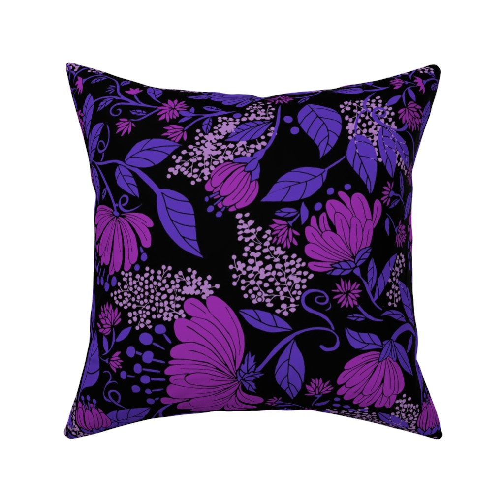 Catalan Throw Pillow featuring Midnight Nouveau Floral by maliuana
