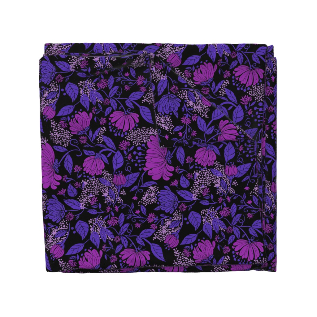 Wyandotte Duvet Cover featuring Midnight Nouveau Floral by maliuana