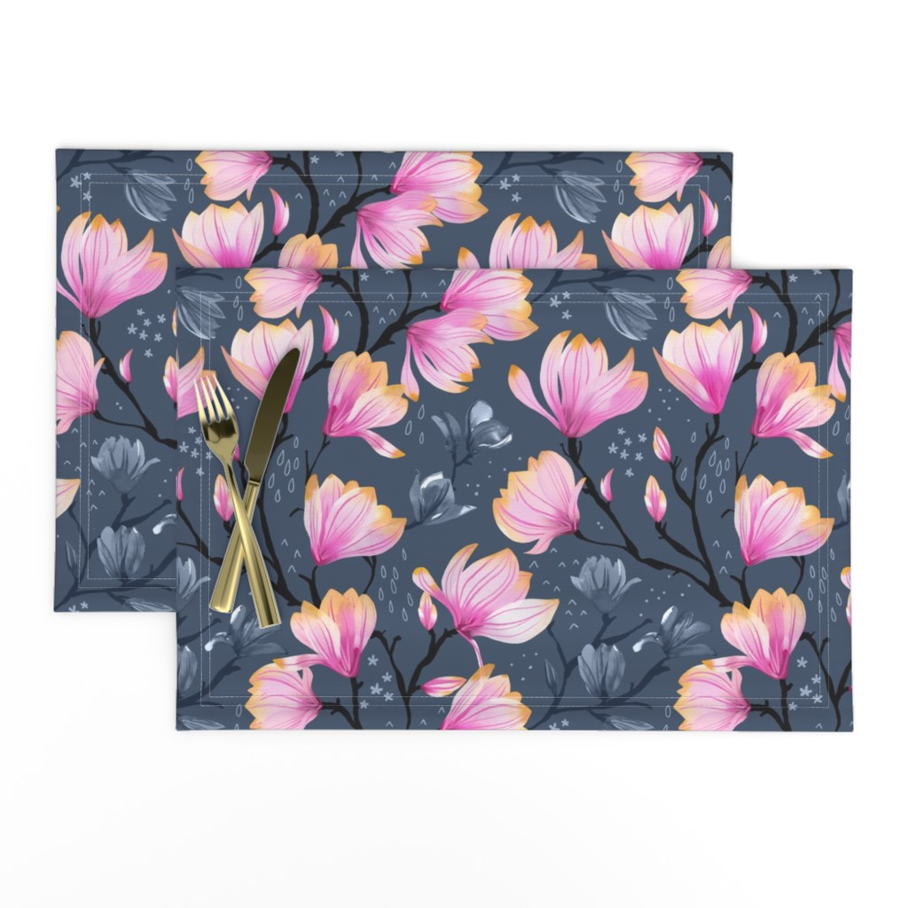 Lamona Cloth Placemats featuring Magnolia Melancholy by marketa_stengl