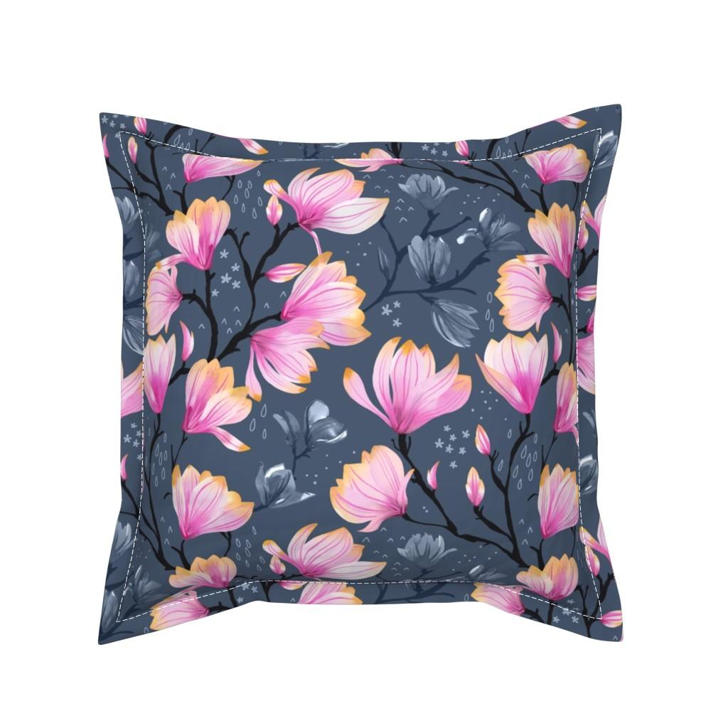 Serama Throw Pillow featuring Magnolia Melancholy by marketa_stengl