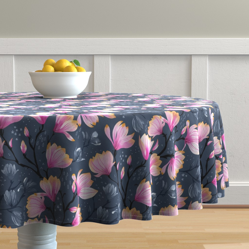 Malay Round Tablecloth featuring Magnolia Melancholy by marketa_stengl