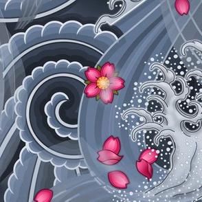 ★ SAKURA ★ Pink Cherry Blossom Japanese Tattoo / Blue - Jumbo Scale / Collection : Irezumi - Japanese Tattoo Prints