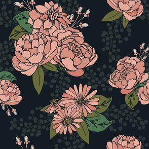 Pink Florals on Black