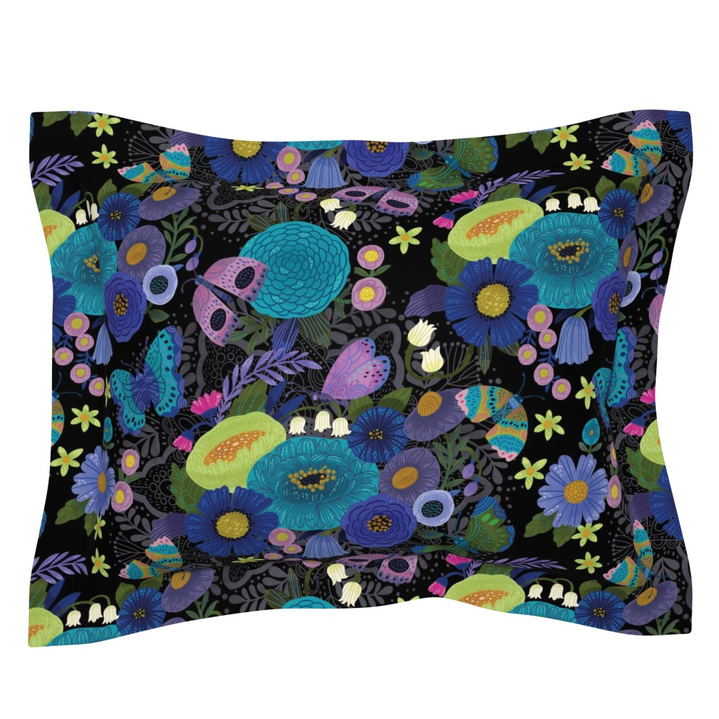 Sebright Pillow Sham featuring Butterfly Blues  by cynthiafrenette