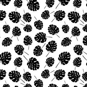 monstera palm leaves - small scale black ink