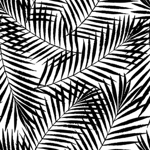 tropical palm leaves - large scale black ink